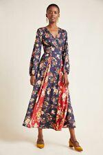 New Anthropologie Farm Rio Gracia Wrap Maxi Dress Navy size L NWT