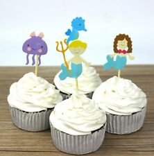 24 pcs Cupcake Cup Cake Decorating,Toppers PARTY DECORATION , Mermaid Seahorse