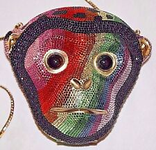 Judith Leiber Monkey Mulit-Color Crystal Minaudiere Clutch Evening Bag Purse