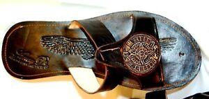 Huarache Sandals Mexico Sandals & Flip Flops Brown Leather Mens Aztec Calendar