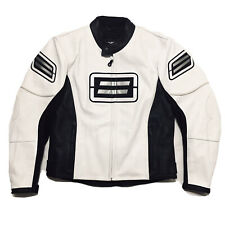 Shift Motorcycle Gear Street ST Lined White and Black Leather Jacket Size Medium