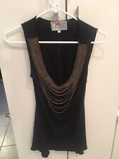 Yoana Baraschi size S Bauble Chain Knit Sleeveless Black Top Boho