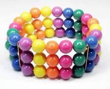 NEU 3-Reihiges ARMBAND 10mm PERLEN pink/lila/gelb/grün ELASTISCH PERLENARMBAND
