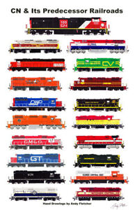 """Canadian National And Its Predecessors 11""""x17"""" Poster by Andy Fletcher signed"""