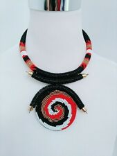 pendant spiral multicolored New African Handmade Maasai Beaded Necklace