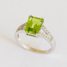 NATURAL PERIDOT RING GENUINE DIAMONDS 9K WHITE GOLD SIZE N AUGUST BIRTHSTONE NEW