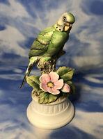 HTF Ethan Allen Hand Painted Porcelain Green Parakeet Bird Figurine 06/3230 RGUC