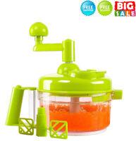 Hand Crank Food Processor -Manual Food Chopper Blender Mixer Cutter Meat Grinder