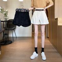 Ladies Corduroy Shorts High Waist Ruffle Fringe Short Pants Wide Leg Casual Cute