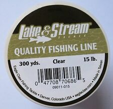 Lake & Stream Mono Fishing Line - Clear - 4 Spools - 15lb, 300yd/ea #09011-015
