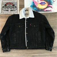 Vintage Levis Type 3 Sherpa Lined Denim Trucker Jean Jacket Made in USA Black L