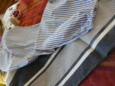 lot=bleu ,traversin s  coton rayé  et toile de matelas