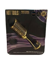 Hot Tools Professional 24k Gold One-Step Salon Blowout Styler Brush HT1076 NOB