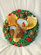 Lighted Christmas Wreath Door Wall Decoration Musical Moose Cardinals Squirrels
