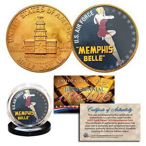 1976 Bicentennial JFK Half Dollar * WW II MEMPHIS BELLE* 24K Gold Plated Coin