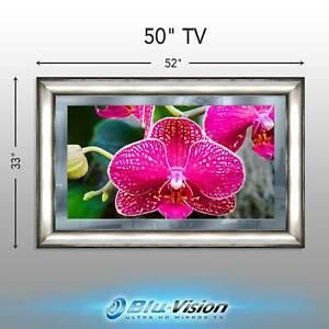 "NEW! MIRROR TV 50"" SLIM SAMSUNG Q60A SMART 4KTV FANCY SILVER FRAME 52""X33""X1.5"""