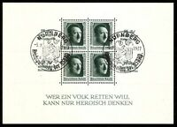 DR Nazi 3rd Reich RARE WW2 STAMP Hitler FuhrerBlock №11 Swastika Eagle Overprint