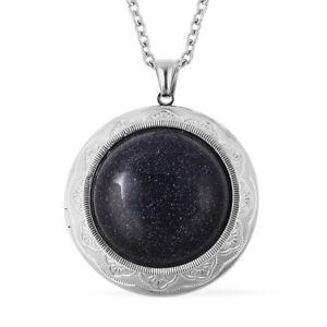 "Blue Sandstone Locket Chain Pendant Necklace Delicate Gift Jewelry 24"""
