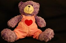 "Purple Bear Pink Coveralls Heart Stuffed Animal Lovey 7"" Plush  Vintage"