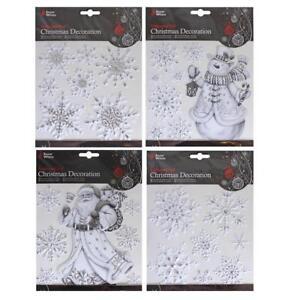 4 x White/Silver Christmas Window Cling Decoration - Santa Snowman Snowflakes