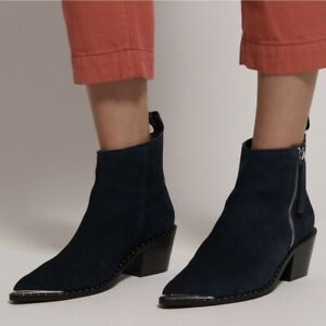 One Teaspoon Faded Navy Ankle Booties Boots 38 Chelsea Suede Pointed Toe