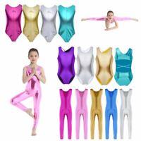 UK Kids Girls Ballet Dance Leotards Bodysuit Jumpsuit Yoga Gymnastics Dancewear