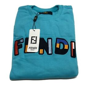 FENDI ROMA BLUE PULL OVER SWEATER SIZE LARGE NEW WITH TAGS READ DESCRIPTION