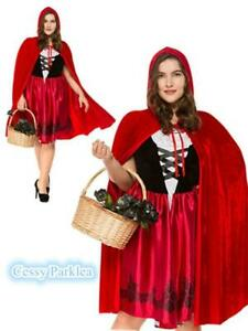 UK Plus Size Little Red Riding Hood Costume Fairytale Storybook Fancy Dress