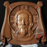 "The Holy Face of Jesus Christ God Lord Icon 3D Orthodox Wood Carved (10""x10"")"