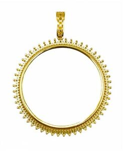 50 Pesos 14 KT Yellow Gold Round Coin Frame Prong Mounting coin bezel pendant