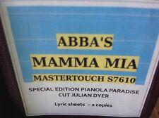MAMMA MIA Abba   BRAND NEW !!  PIANOLA  PLAYER PIANO ROLL