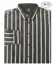 ATTENTION NEW Black Striped Long Sleeves Button Down Shirt 3XLT QCO