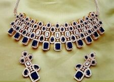 Crystal & Sapphire Embedded Caller Choker Necklace Set Bridal  Legacy Jewelry BC