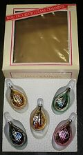 VINTAGE BRADFORD GLASS MANDOLIN CELLO MUSICAL CHRISTMAS ORNAMENTS  -ORIG BOX -EC