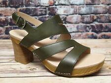 Dansko Ashlee Burnished Calf Olive Leather Sandal  *3320--281500