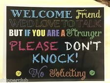 FUNNY NO SOLICTING sign w/ water proof laminate Customize Letter size