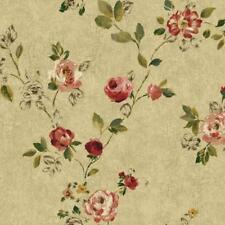 Wallpaper Designer Red Pink Green Yellow Brown Rose Vine on Beige Tan Crackle
