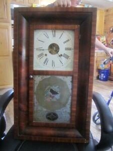 Antique EN Welch MFG Co Forestville Brass Wood 30 HR Wall Clock RUNS Ogee Style