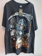 T-Shirt Sensenmann und Biker Gothic Gr. L NEU beidseitig bedruckt