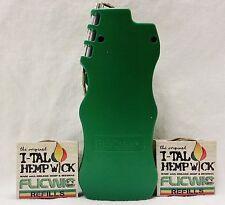 Green Flicwic Hemp Wick Lighter Dispenser W/ 2 Ital Refill Spools For Bic Mini