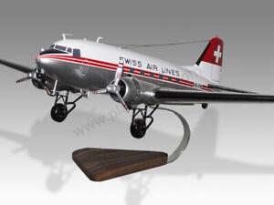 Douglas DC-3 Swissair Swiss Air Lines Handcrafted Solid Wood Display Model