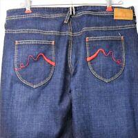 Karma Dark Jeans Juniors Size 9 Button Fly Raw Hem Flare Denim Pant Blue