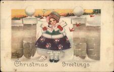 Christmas - Little Girl w/ Packages - Kathryn Elliott c1910 Postcard