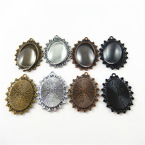 5 Sets Cameo Setting Charm Base Cabochon Bezel Pendant Tray With 25*18mm Glass