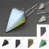 Natural Gemstone Crystal Quartz Healing Pendulum Pendant Chain Necklace EP