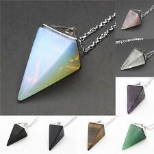 Natural Gemstone Crystal Quartz Healing Reiki Pendulum Pendant Chain Necklace