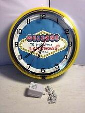"Wall Clock 2 Neon Light , Welcome to Las Vegas, Bar Decor, Man Cave,14"" Diameter"