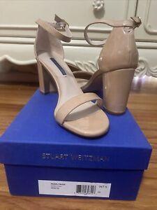 NEW Stuart Weitzman Womens Nearlynude Adobe Patent Ankle Strap Heels 7.5 Wide