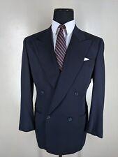 Ermenegildo Zegna Vintage Solid Blue Double Breasted Suit 40 R-Fit 41-43 Reg