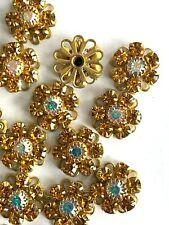S326 - 20 Set w/Swarovski Stones - Sew On Flower Components  Lt Col Topaz & CAB